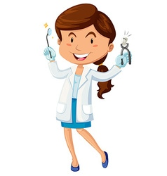 Female dentist with equipment vector