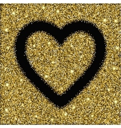Gold glitter texture and heart frame vector