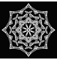 Handdrawn pattern white star shape on black vector