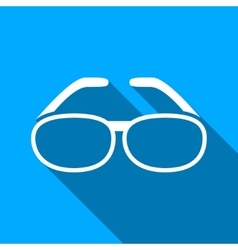 Spectacles flat long shadow square icon vector