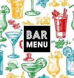 Restaurant and bar menu hand drawn sketch vector