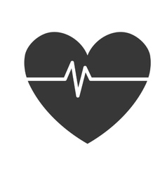 Black and white heart and beats graphic vector