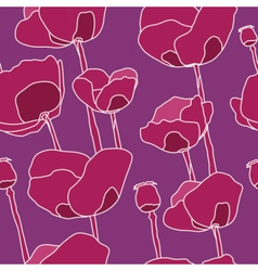 Abstract pink flowers seamless pattern vector