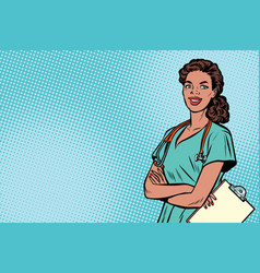 beautiful african american nurse with stethoscope vector image vector image