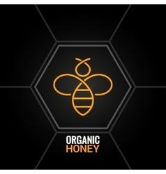 Bee logo on honeycomb background vector image