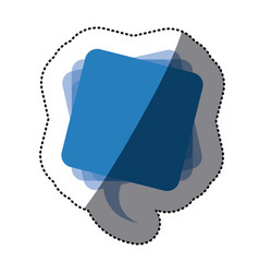 Blue square chat bubble icon vector