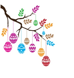 Easter eggs branch vector image
