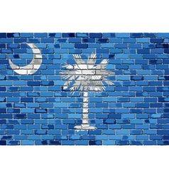 Flag of South Carolina on a brick wall vector image vector image