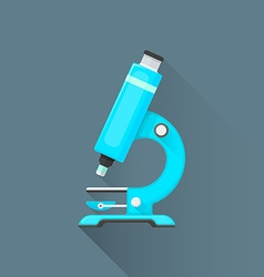 flat blue microscope icon vector image vector image