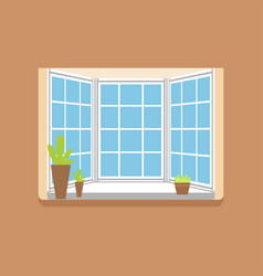 flat window with potted plants on a windowsill vector image