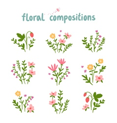 Floral compositions collection vector image vector image