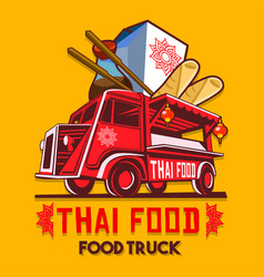 Food truck thai food fast delivery service logo vector