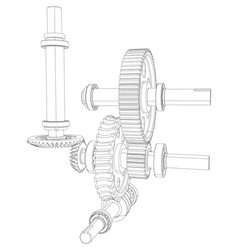 gears with bearings and shafts vector image vector image