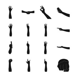 Gestures and their meaning black icons in set vector