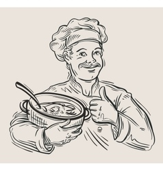 Hand drawn happy chef with pan in hand vector