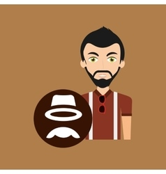 Hipster style character hat mustache vintage icon vector