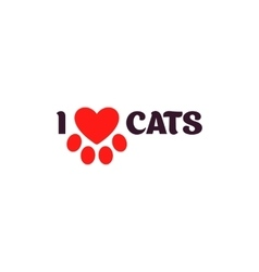 I love cats Black lettering on a white background vector image