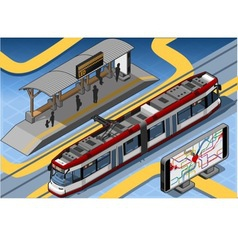Isometric subway near platform roof and vector