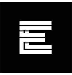 Letter e wide white stripes logo monogram emblem vector