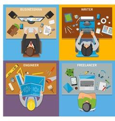 Professions top view 2x2 design concept vector