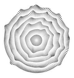 radial black and white round pattern of dots vector image