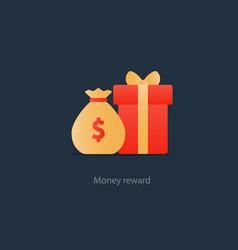 Red gift box and money bag reward concept bonus vector