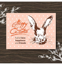 Retro easter card sketch watercolor easter rabbit vector