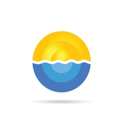 sea and sun color on a white vector image vector image