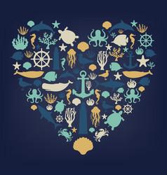 sea icons and symbols set sea animals nautical vector image