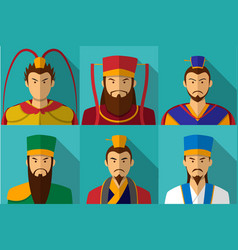 Set of three kingdom character portrait in flat vector