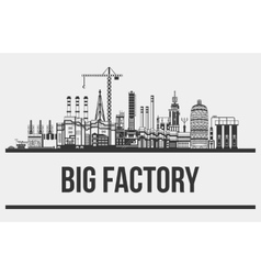 Silhouette of huge plant or factory manufactory vector