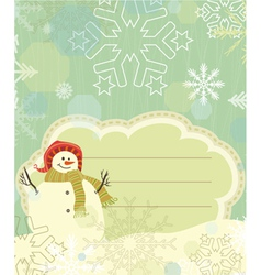 snowman with snowflakes vector image vector image