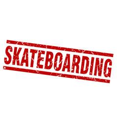 Square grunge red skateboarding stamp vector