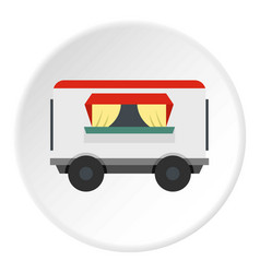 Street food trailer icon circle vector
