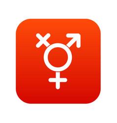 Transgender sign icon digital red vector