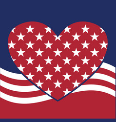 Usa star pattern background with heart in vector