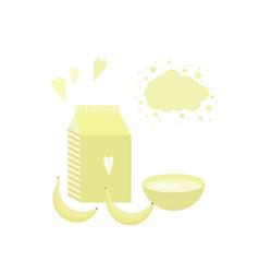 With yoghurt and bananas vector