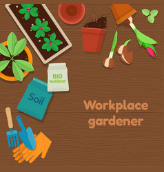 Workplace gardener and gardening tools on wooden vector
