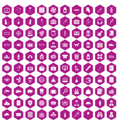 100 case icons hexagon violet vector