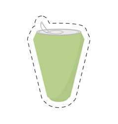 green soda can drink cut line vector image