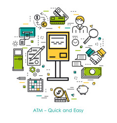 Line art concept - atm - quick and easy vector