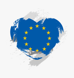 Flag of european union isolated on grunge heart vector