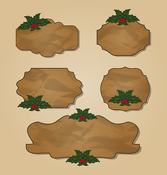 Set crumpled paper label with holly berry vector image