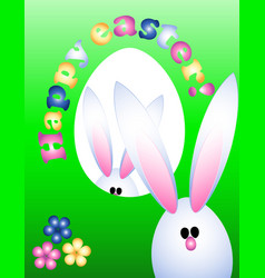 Easter greeting card invitation banner rabbits vector