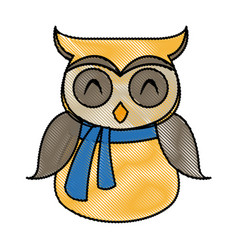 Owl in christmas scarf festive image vector