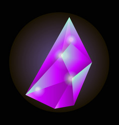 Luminous crystal of crimson color with sharp edges vector