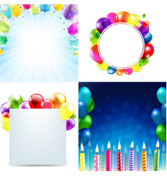 Color birthday cards design template balloon vector
