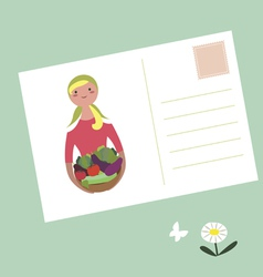 Post card girl with basket of vegetables vector