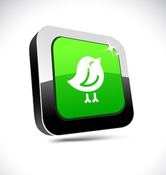 Bird 3d square button vector