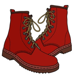 Funny dark red boots vector